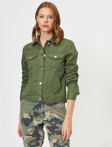 Koton Jean Ceket Yeşil